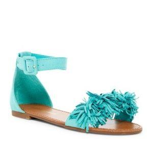 Breckelle's || Shine Fringe Turquoise Sandals